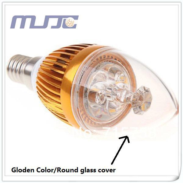 30 x 110V 220V Grey Golden E12 E14 Bombilla LED Lámpara de vela de cristal / Vanity Mini Bulbo 3W = 30W por Fedex