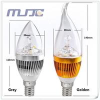 3w kerzenlampe großhandel-30 x 110V 220V grau golden E12 E14 LED Glühbirne Kristall Kronleuchter Kerze Lampe / Vanity Mini Birne 3W = 30W von Fedex