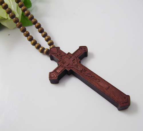 / Hip Hop CRISTO JESÚS Cruz granos pendientes de madera collar de cadena Buena