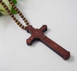 Wholesale Wooden Face Beads - 12Pcs Lot Hip Hop CHRIST JESUS Cross Pendant Wooden Beads Chain Necklace Good