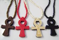 jóias colar de contas de madeira venda por atacado-36 pçs / lote Hip Hop Ankh pingente de colar com contas de madeira cadeia de jóias religiosas boa cor aleatória