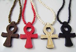 Wholesale Wholesale Color Wooden Beads - 36Pcs Lot Hip Hop Ankh Pendant Necklace With Wooden Beads Chain Religionary Jewelry Good Random Color
