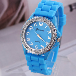 Wholesale Geneva Rubber - Dropship GENEVA Casual Watch Women Silicone watch Quartz Men Sports Watches Wristwatch woman's Dress watch