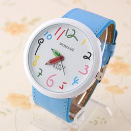 Relógio quartzo feminino on-line-Womage Relógio De Quartzo PU cinto números coloridos Relógios de Rosto branco Horas relógio womage Relógio de pulso YJP45