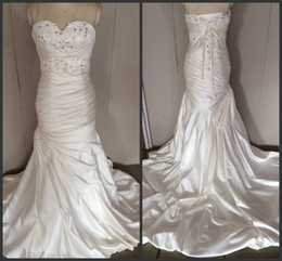 Wholesale 2014 in stock wedding dresses mermaid sweetheart sheath sexy fashion sweep train sequins promotion price free shipping custom made cheap