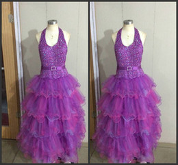 Wholesale Cheap Stock Fabric - 2014 in stock flower girl dresses promotion price halter sequins beads tiers backless free shipping fabric purple organza piping cheap