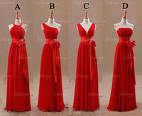 Wholesale Dress Fashion Promotion - 2014 free shipping custom made fashion promotion price bridesmaid dresses red chiffon ruffle A-line floor length backless high quality