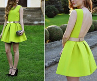 Wholesale Neon Green Ball Gown - Women Open Back Dresses Neon Green Backless Sashes Party Short Mini Sexy 2015 Spring and Summer New Design Sundress Tunics Gowns