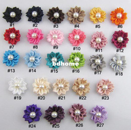 flowers satin hair clip NZ - 1.5 inch size DIY flower WITHOUT CLIP,Satin Ribbon Multilayers Flower With Pearl,Girl's Hair Accessories100pcs lot