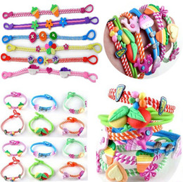 Wholesale bracelet children - Fashion Polymer Clay Bracelets 50pcs lot Bohemian Kid Wristbands Fashion Children Gift [B492M*50]