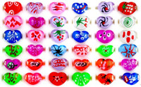 Wholesale Kids Party Rings - Free Shipping Wholesale Mixed Lots 50Pcs Heart Resin Lucite Ring Jewelry rings Kids Christmas Gift[KR04*50]
