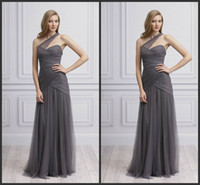 Wholesale Tulle Fabric Shipping - 2014 promotion price fashion sexy high quality sheath prom dresses fabric tulle one shoulder ruffle backless ruffle free shipping custom