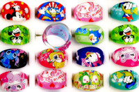 Wholesale Set Animation - Brand New 48Pcs Free shipping Kids Cartoon Rings Cute Animation Cartoon Child's Resin Rings jewelry[KR07*48]