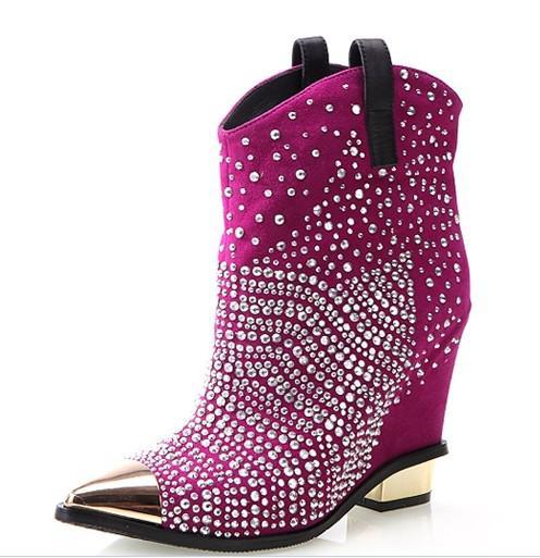 Dames en cuir suédé à talons hauts chaussures de gladiateur avec diamant calceus chaussures sandale à l'intérieur des chaussures rehaussées mariage livraison gratuite pourpre G76