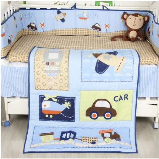 new boy baby cot crib bedding comforter set applique cars airplane quilt fitted sheet bumper of 3 items juvenile bedding boys boys sheets sets from - Baby Bedding For Boys
