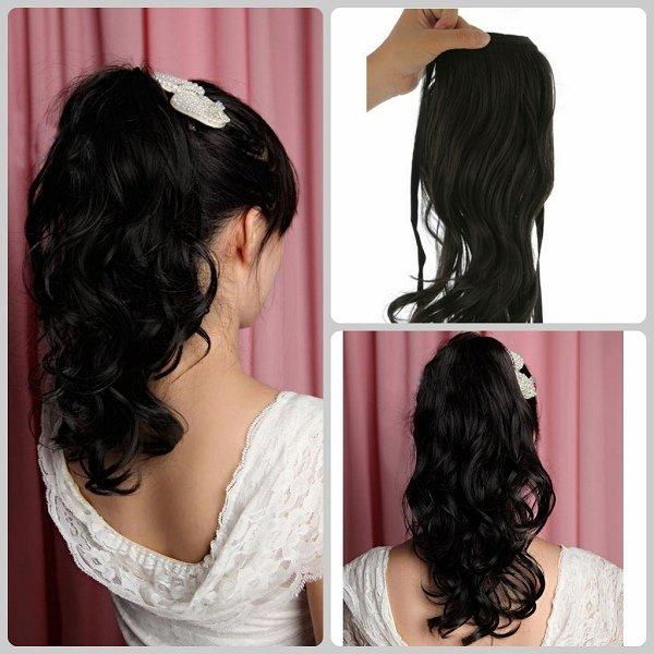 22 90g New Clip Claw Ponytail Loose Curls Blended Human Hair
