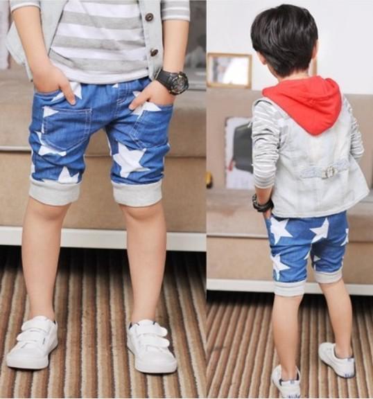 In Stock 2016 Summer Kids Shorts Baby Children Boys White Star Denim Shorts Kids Clothing Size100-140 Free Shipping