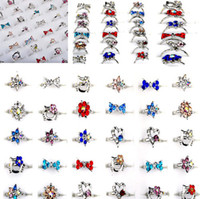 Wholesale Kid Rings Adjustable - Hot Sale 100X Child Crystal Rings Platinum Plated Assorted Design Cute Kid Ring Adjustable Free Ship [KR20*100]