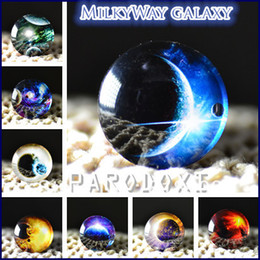 Wholesale 25mm Glass Dome Cabochon - 10pcs 25mm Charm galaxy The Milky Way Pattern Round Glass Dome Cabochon Flat Back Embellishments