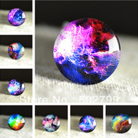 Wholesale Glass Spacers - Free shipping 10pcs 25mm Charm colorful Galaxy Pattern Round Glass Dome Cabochon Flat Back Embellishments for fashion Jewelry