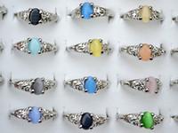anillos de piedras preciosas naturales al por mayor-Colorido Natural Cat Eye Piedra preciosa Piedra Tono de plata Anillos de las mujeres R0029 Nueva joyería 50pcs / lot