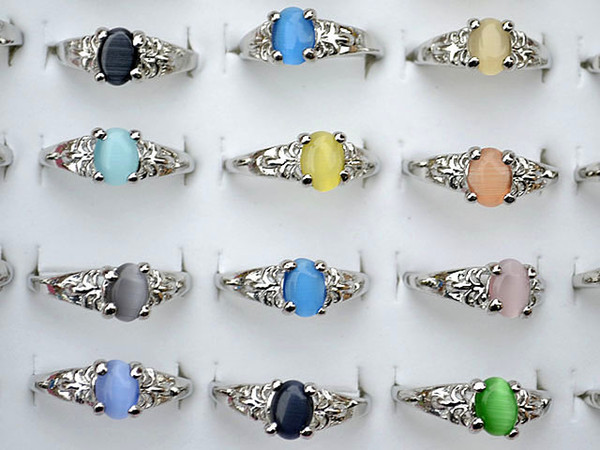 best selling Colourful Natural Cat Eye Gemstone Stone Silver Tone Women's Rings R0029 New Jewelry 50pcs lot