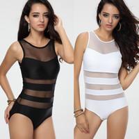 Wholesale Sexy Black Mesh Bathing Suit - Newest Women's Black White One piece Swimwear Monokini with Mesh Tulle Sexy Vest Straps Bathing suit S M L T123