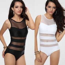 Wholesale White Mesh Bathing Suit - Newest Women's Black White One piece Swimwear Monokini with Mesh Tulle Sexy Vest Straps Bathing suit S M L T123