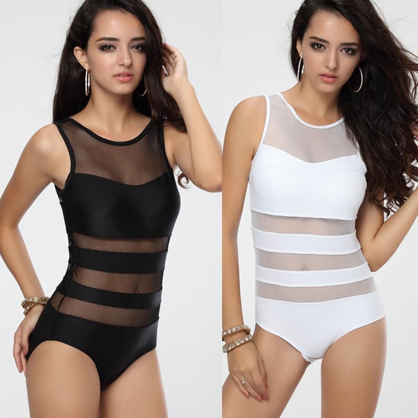 Newest Women's Black White One piece Swimwear Monokini with Mesh Tulle Sexy Vest Straps Bathing suit S M L T123
