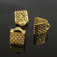 Wholesale Gold Crimps - wholesale 6mm*8mm, 250pcs gold Plated Clips Ribbon Clamps Connectors ribbon crimp H7801