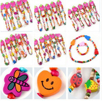 Wholesale Wholesale Kids Wooden Jewelry - 21Sets Wholesale Lots Wood Wooden Friendship Kid Bracelet Necklace Jewelry Kits [TN*21]