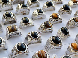 Wholesale Gemstones Ring Designs - Mixed Design Lots 12pcs Man's Jewelry Tiger eye Gemstone&glaze Silver Plated Rings US Size 7 to 12 Brand New Gift