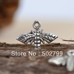 Wholesale Tibetan Bee - Wholesale Lots 60PCS Tibetan silver Tone Bee charm pendants TS6055