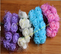 Wholesale Diy Doll Flowers - PE Material Artificial Rose Foam Flowers DIY Wedding Favor Candy Box Doll Hair Accessories 144 pcs bag