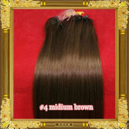 "indian human hair factory Canada - ELIBESS 14""- 26"" 1g strand 100g set Micro ring loop remy indian Human Hair Extensions Factory Price #4 medium brown dhl free"