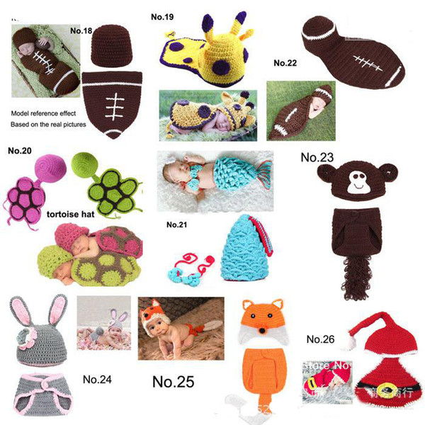 2014 new Baby Frog Hat Dinosaur Mouse Costume Crochet Knitted Hat Cap Girl Boy Diaper Dogs Mermaid Crochet Cotton Knit Custome Set 5set