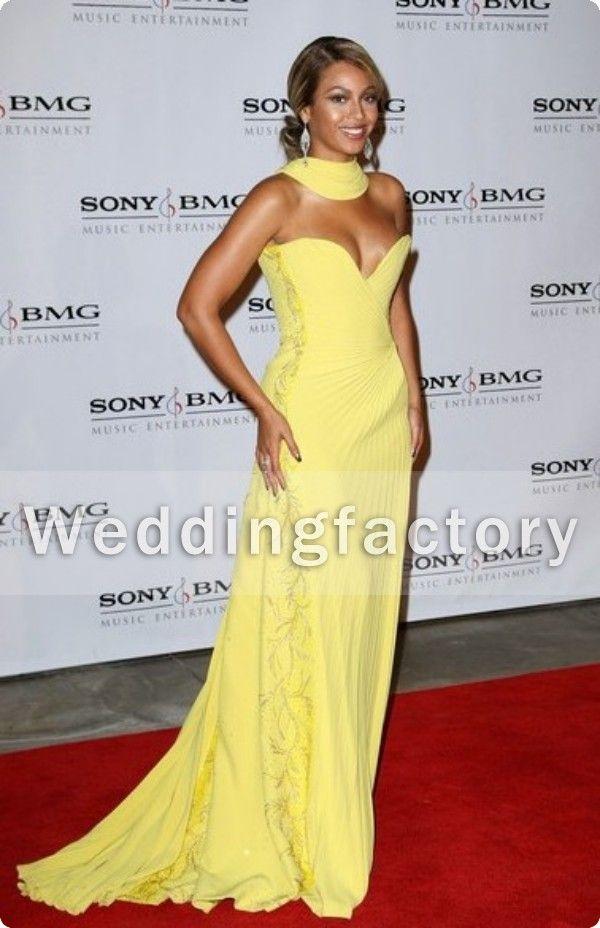 Großhandel Sexy Beyonce Kleider Chiffon Abendkleider A Line Hohe ...