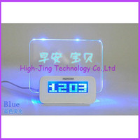 Wholesale Electronic Advertising - USB LED Message Board Erasable Electronic Fluorescent Writing Board LED Advertising Board Whiteboards with alarm clock