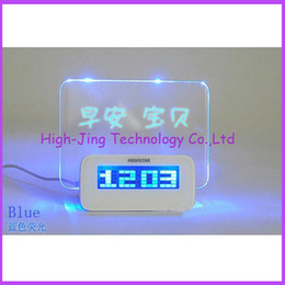 Wholesale Fluorescent Clock - USB LED Message Board Erasable Electronic Fluorescent Writing Board LED Advertising Board Whiteboards with alarm clock