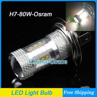 Wholesale Daytime Running Light Osram - 80W H7 Osram Chip with Lens High Bright LED Car Fog Light LED Headlight, Auto Daytime Running Light Bulb Free Shipping