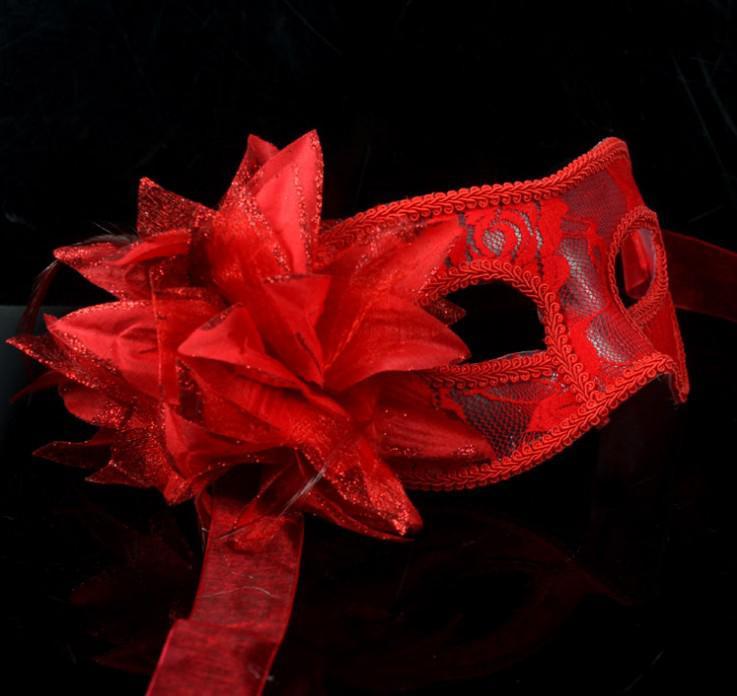 熱い販売のセクシーな黒い白赤女性の羽毛のベネチアンのマスカレードマスクマスクされたボールレースの花のマスク3色hjia870