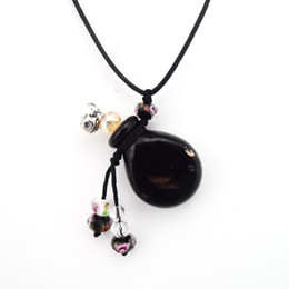 Wholesale Glass Necklace Vials - Classic Black Glass Essential Oil Bottle MINI Scented Oil Vials Pendant Necklace Jewelry 5pcs lot DC289