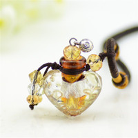 Wholesale Necklace Vial Heart - Multi Color Heart Color Perfume Pendant Necklace MINI Scented Oil Vials Creative Glass Craft Gift 5pcs lot DC291
