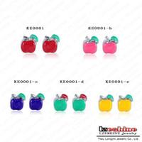 Wholesale Enamel Charms Mix - Wholesale Varies Types Charm Beads 20PcsXUnique Mixed Enamel Apple Threaded Beads Fit European Bracelets KE