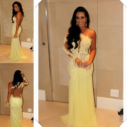 Wholesale Single Shoulder Long Dress Pink - 2014 Best Selling Single Long Sleeve Evening Dresses Lace Appliqued Sheer Back Sheath Floor-Length Yellow Tulle Skirt Celebrity Prom Gowns