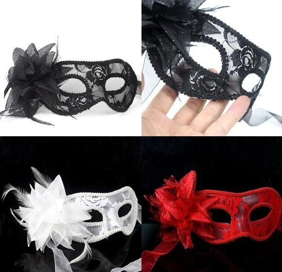 Hot sale sexy Black white red Women Feathered Venetian Masquerade Masks for a masked ball Lace Flower Masks 3colors HJIA870