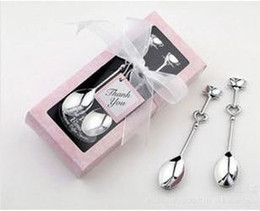 Wholesale Wedding Spoons Gifts - Wholesale - - Free Shipping - Teatime Wedding Favors Love Beyond Measure Heart Measuring Spoons in Gift   coffee spoon 2 pcs   set Thin styl