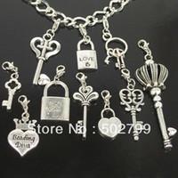 Wholesale Tibetan Key Charms - wholesale lots 50pcs Tibetan Silver KEY & LOCK LOVE Lobster claw clasp Charms Pendants P1996
