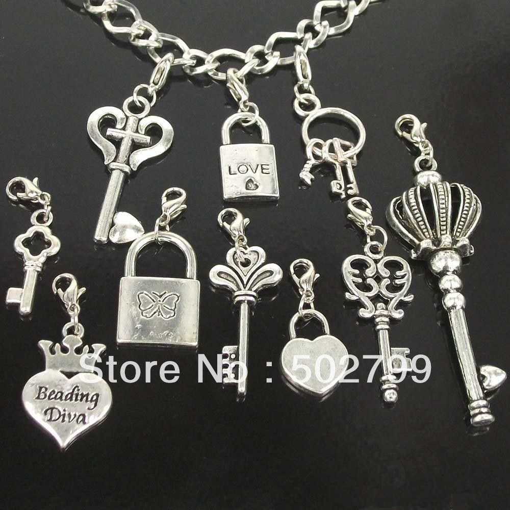 wholesale lots 50pcs Tibetan Silver KEY & LOCK LOVE Lobster claw clasp Charms Pendants P1996