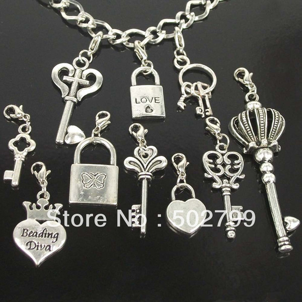 wholesale lots 50pcs Tibetan Silver KEY & LOCK LOVE Lobster claw clasp Charms Pendants P1996